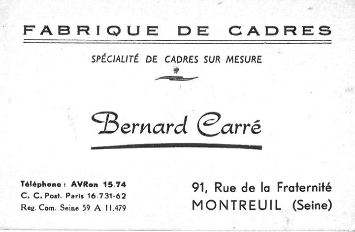 Bernard Carré Shop Card