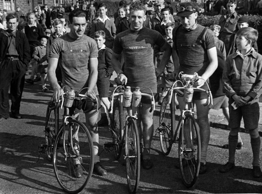Jack, Norman and Ken - an early race in Newcastle - wearing homemade cycling jerseys