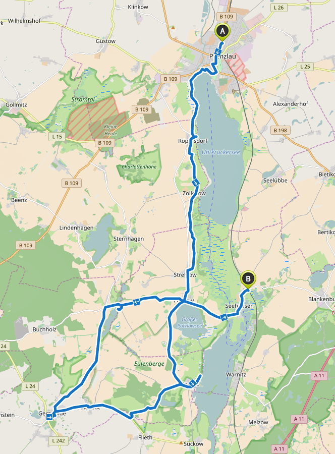 Route Prenzlau Gerswalde Seehausen