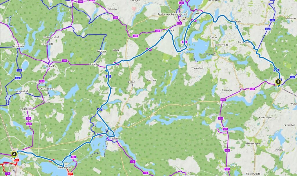 Route Fürstenberg nach Boitzenburg