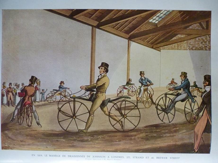 1819-le-manege-de-draisiennes-de-johnson-a-londres-london-377-strand-et-40-brewer-street-gravure