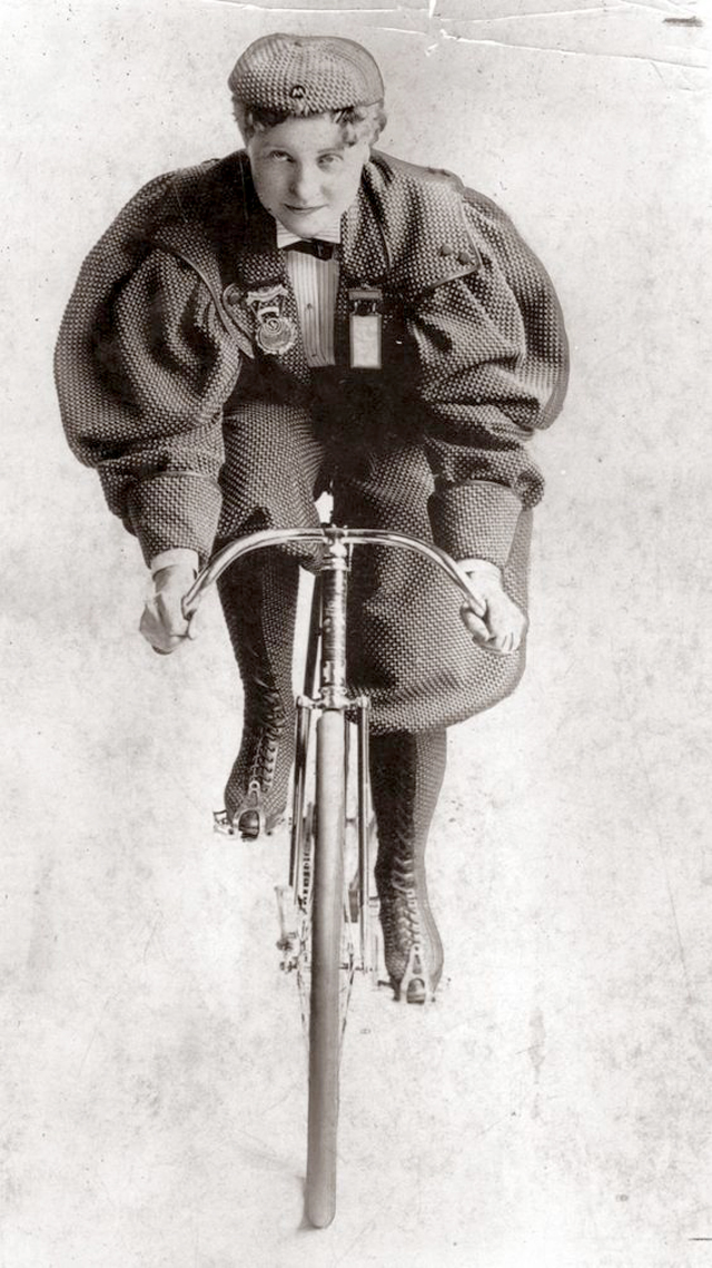 "Tillie Anderson Shoberg wears a costume worn by women cyclists in the early 1890s. Shoberg was known as ""Tillie the Terrible Swede."" An immigrant from Sweden, Tillie was known as the best female bicyclist in the late 1800s. She competed until 1902 when the League of American Wheelmen banned women from racing. Photo circa Aug. 27, 1935. (Chicago Tribune historical photo) ....OUTSIDE TRIBUNE CO.- NO MAGS,  NO SALES, NO INTERNET, NO TV, CHICAGO OUT, NO DIGITAL MANIPULATION..."